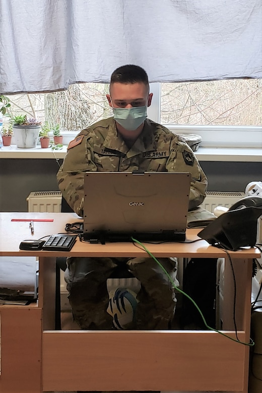Sgt. Bradley Taylor, a medic with the Pennsylvania National Guard's 108th Medical Company Area Support, works in his office on a Lithuanian Army base in Marijampole, Lithuania, where he is providing medical support to U.S and Lithuanian troops. The 108th MCAS deployed to Europe in late February to provide medical support to U.S. and allied rotational forces in the region.