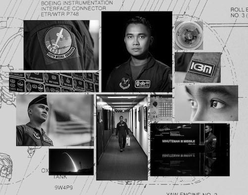 Pictured is a photo collage of 1st Lt. David Saul Adriatico, 490th Missile Squadron intercontinental ballistic missile combat crew member.