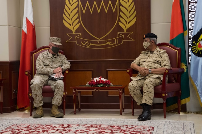 MANAMA, Bahrain (May 5, 2021) - Gen. Frank McKenzie, left, commander of U.S. Central Command (USCENTCOM), speaks with Commander-in-Chief Bahrain Defence Forces (BDF) Field Marshal Shaikh Khalifa Bin Ahmed Al Khalifa, during a visit to Bahrain Defence Force headquarters to discuss ongoing operations and commitment to the region, May 5. USCENTCOM directs and enables military operations and activities with allies and partners to increase regional security and stability in support of enduring U.S. interests. (U.S. Navy photo by Mass Communication Specialist 2nd Class Jordan Crouch)