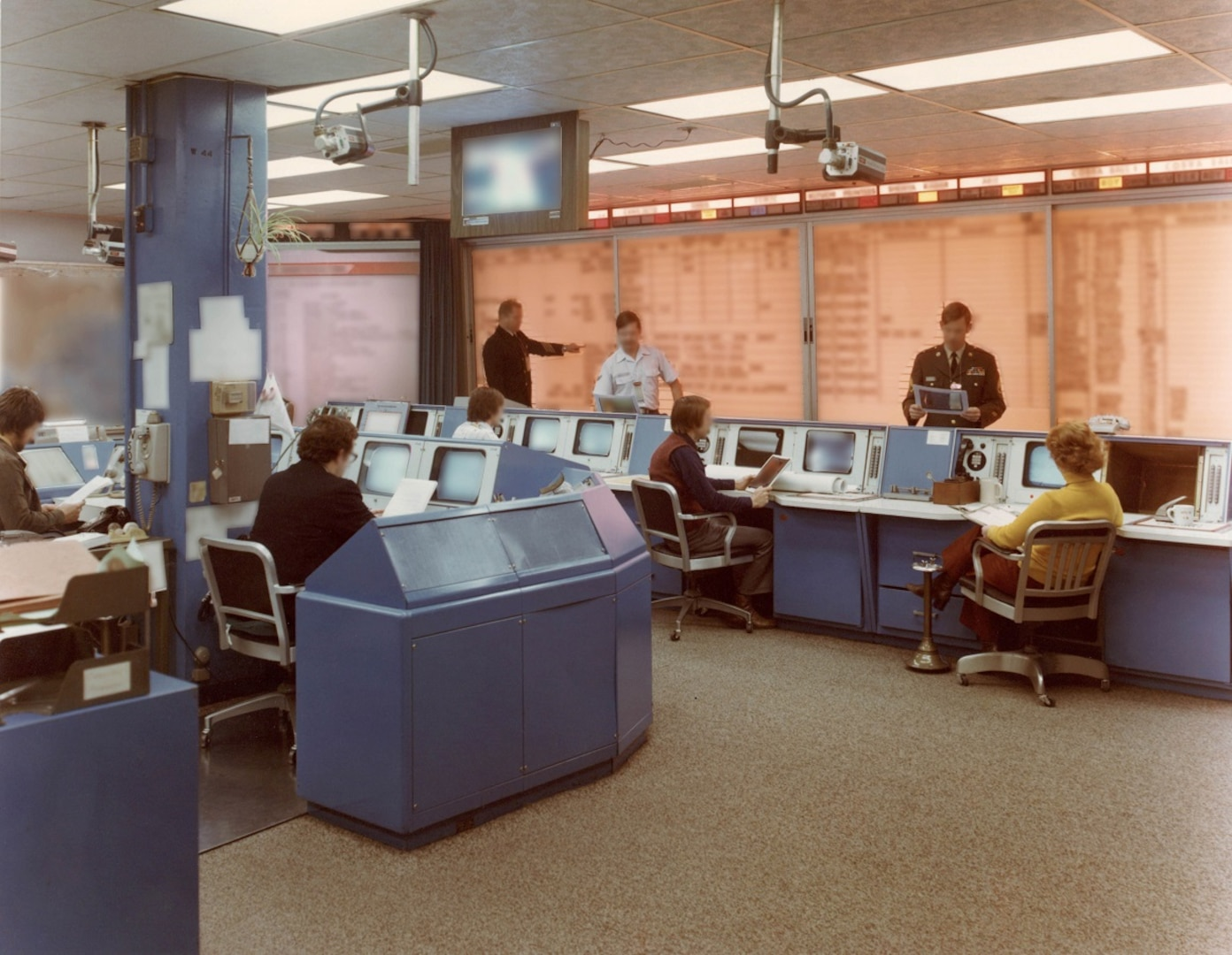 The DEFSMAC watch floor as it was in 1983 from NSA archives