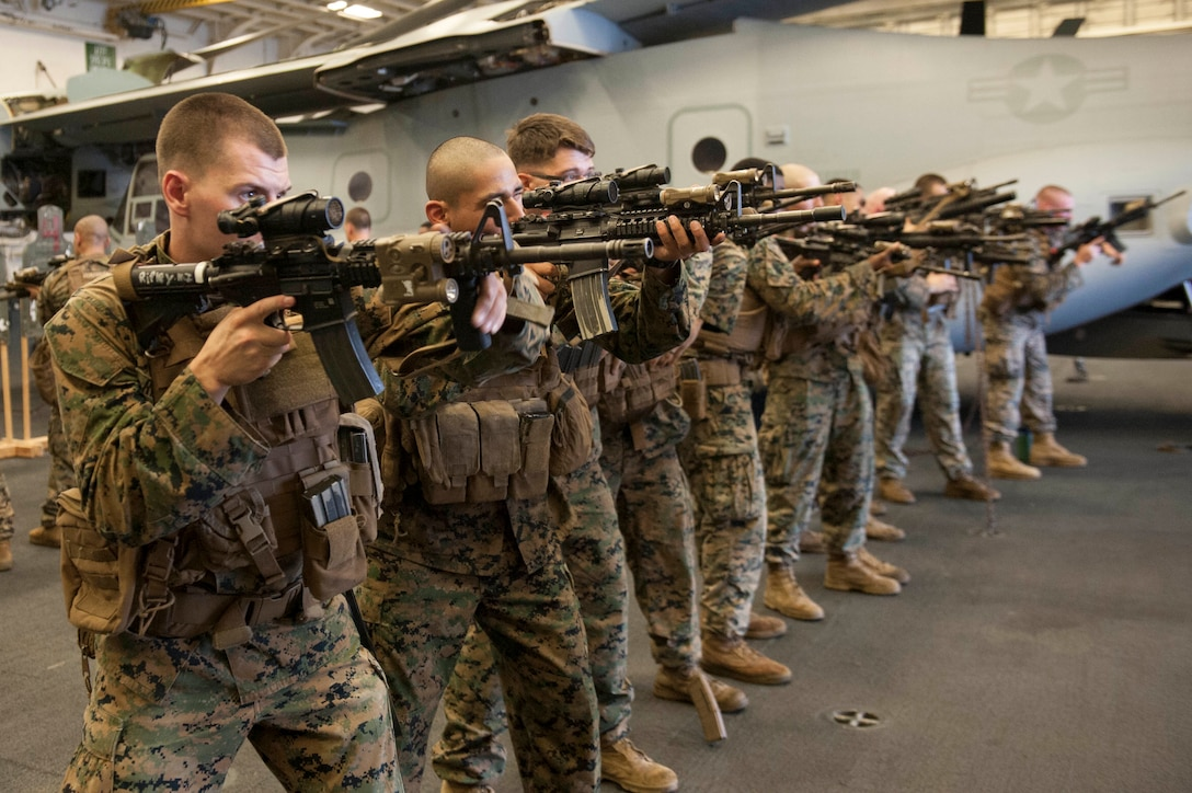 U.S. Marines conduct rifle training in the hangar bay of the amphibious assault ship USS America (LHA 6), Aug. 2.