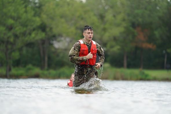 Airman runs in water