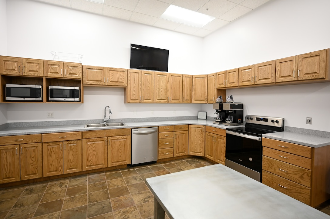 The kitchen inside the Airman Recreation Center.