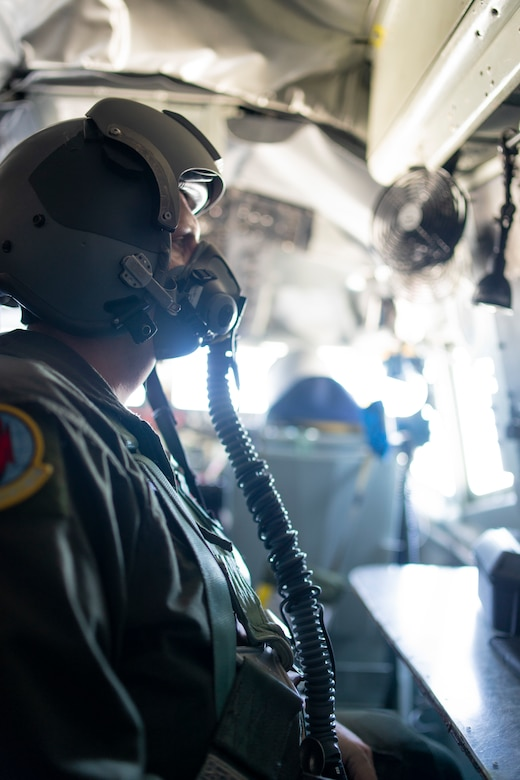 U.S. Air Force Tech. Sgt. Johnathan Gurley, a 50th Air Refueling Squadron boom operator prepares for takeoff in a KC-135 Stratotanker aircraft, from Barksdale Air Force Base (AFB), Louisiana, April 20, 2021. As part of their training, crews wore helmets and oxygen masks throughout the duration of the flight and simulated contested environments in-route to aerial refuel a B-52 assigned to the 96th Bomber Squadron from Barksdale AFB.