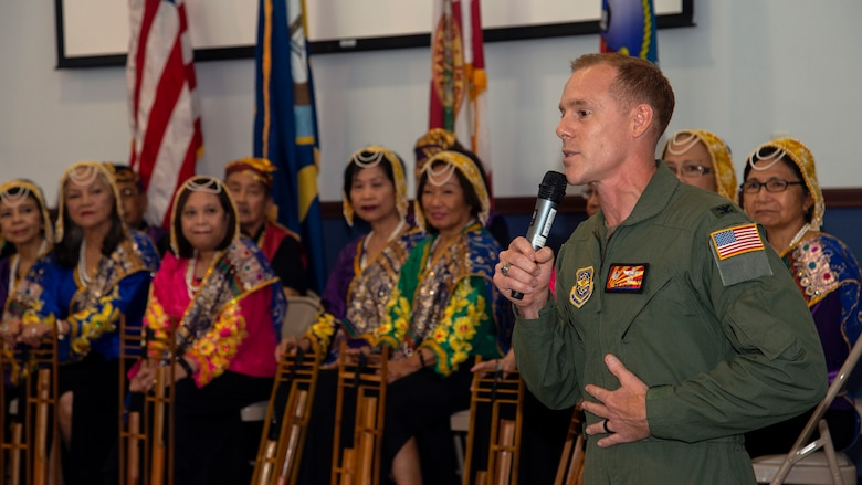 U.S. Air Force Col. Benjamin Jonsson, 6th Air Refueling Wing commander, delivers remarks at an Asian American Pacific Islander (AAPI) Heritage Month luncheon at MacDill Air Force Base, Florida, May 6, 2021.