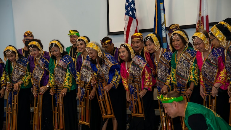 Musikong Kawayan, a bamboo orchestra group based in Tampa, concludes a performance at an Asian American Pacific Islander (AAPI) Heritage Month luncheon at MacDill Air Force Base, Florida, May 6, 2021.