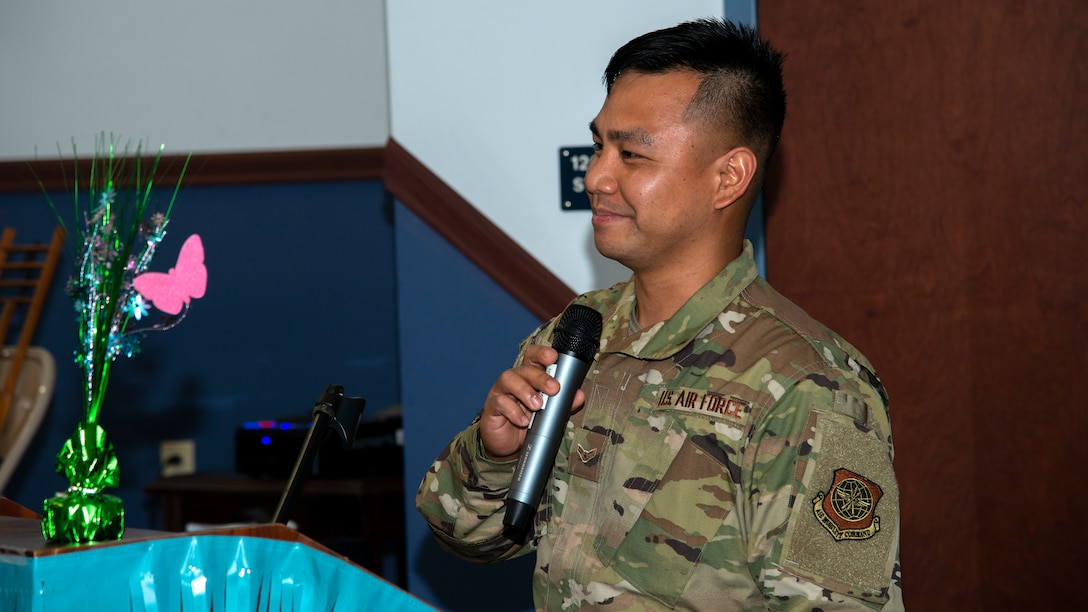 U.S. Air Force Airman 1st Class Arfaneil Rebujio, a 6th Logistics Readiness Squadron Vehicle Management maintainer, speaks at an Asian American Pacific Islander Heritage Month luncheon at MacDill Air Force Base, Florida, May 6, 2021.