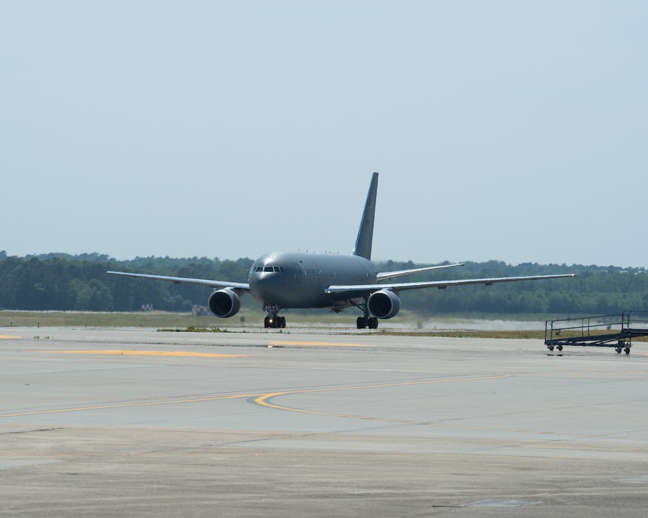 A KC-46A Pegasus lands on the Seymour Johnson AFB runway on April 30, 2021.