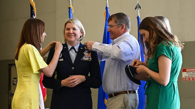 Brig. Gen. McCauley von Hoffman, Ogden Air Logistic Complex commander, is pinned with the rank of major general during a promotion ceremony at Hill Air Force Base, Utah, May 7, 2021. (U.S. Air Force photo by R. Nial Bradshaw)
