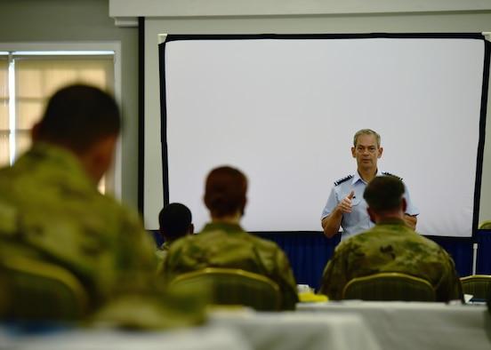 Photo of U.S. Air Force general briefing Airmen