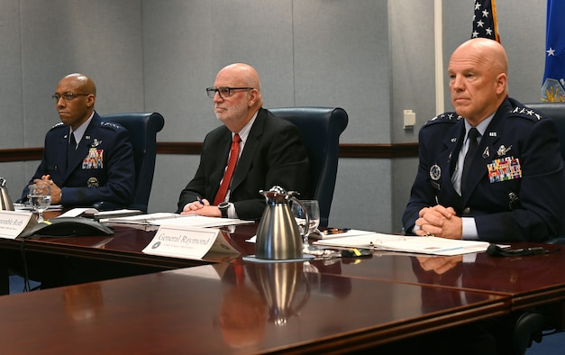 "Acting Secretary of the Air Force John P. Roth (center), Chief of Staff of the Air Force Gen. Charles Q. Brown Jr. (left) and Chief of Space Operations Gen. John W. ""Jay"" Raymond prepare to answer questions during the House Appropriations Committee on Defense during a virtual hearing at the Pentagon, Arlington, Va., May 7, 2021. Committee members raised topics that included confronting new and emerging threats, air and space superiority, and nuclear deterrence."