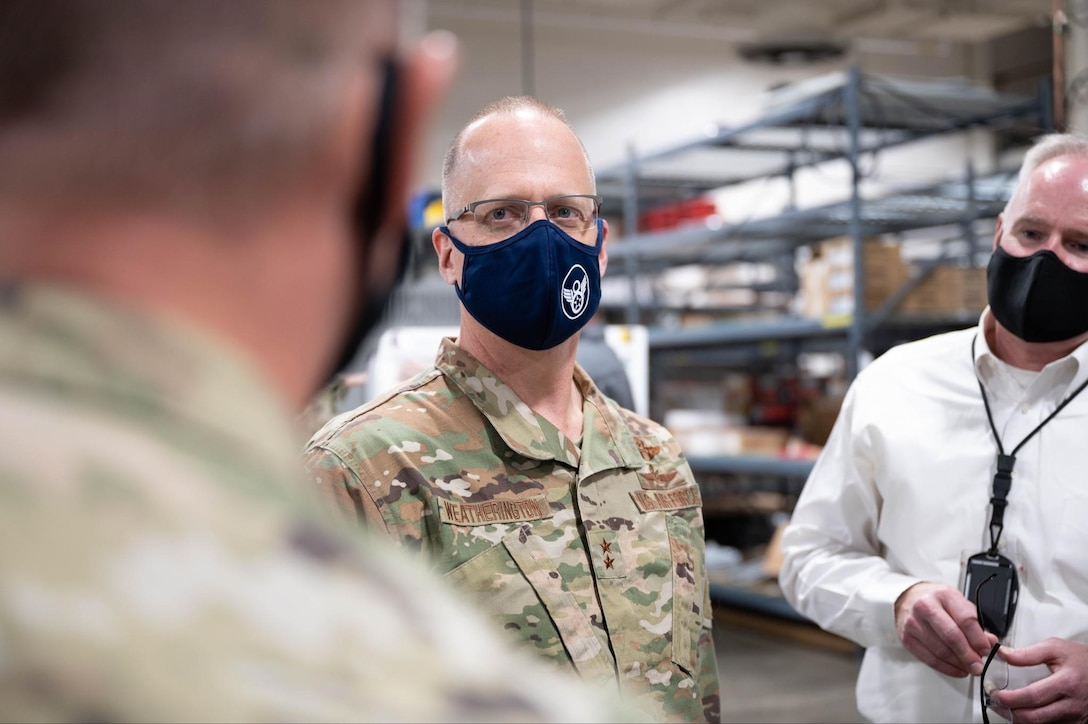Maj. Gen. Mark Weatherington, 8th Air Force and Joint-Global Strike Operations Center commander, meets with Airmen and engineers from the 28th Maintenance Group during his visit to Ellsworth Air Force Base, S.D., May 4, 2021.