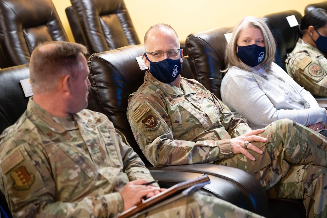 Maj. Gen. Mark Weatherington, the 8th Air Force and Joint-Global Strike Operations Center commander, talks with Col. David Doss, the 28th Bomb Wing commander, to discuss new Airman and Family initiatives at Ellsworth Air Force Base, S.D., May 4, 2021.