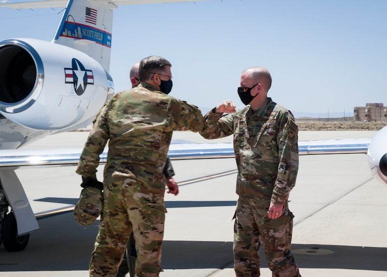 Brig. Gen. Matthew Higer, 412th Test Wing commander, welcomes Gen. Timothy Ray, Air Force Global Strike Command commander, to Edwards Air Force Base, California, May 5. (Air Force photo by Giancarlo Casem)