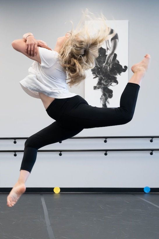 Ally Watkinson, dance instructor at Sole Dance Academy, practices jumps in her dance studio April 26, 2021, in Great Falls, Mont.