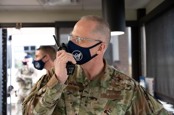 Maj. Gen. Mark Weatherington, 8th Air Force and Joint-Global Strike Operations Center commander, embeds with defenders from the 28th Security Forces Squadron and helps navigate his teammates through a gate-runner exercise at Ellsworth Air Force Base, S.D., May 4, 2021.