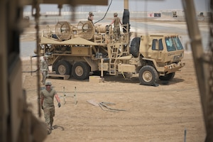 U.S. Army Soldiers from Alpha Battery 5-52 Air Defense Artillery Battalion convoy out to perform a survivability jump at Al Dhafra Air Base (ADAB), United Arab Emirates, May 5, 2021. During the survivability jump the unit sets up an alternate battle position to commence active defense of ADAB.