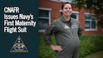 NORFOLK — Lt. Cmdr. Jacqueline Nordan, Commander, Naval Air Force Reserve's (CNAFR) mobilization program manager, poses in the first Navy maternity flight suit. CNAFR was recently selected to participate in a preliminary rollout of a new maternity flight suit in a step to better support expecting mothers. (Graphic illustration by Chief Mass Communication Specialist Stephen Hickok)