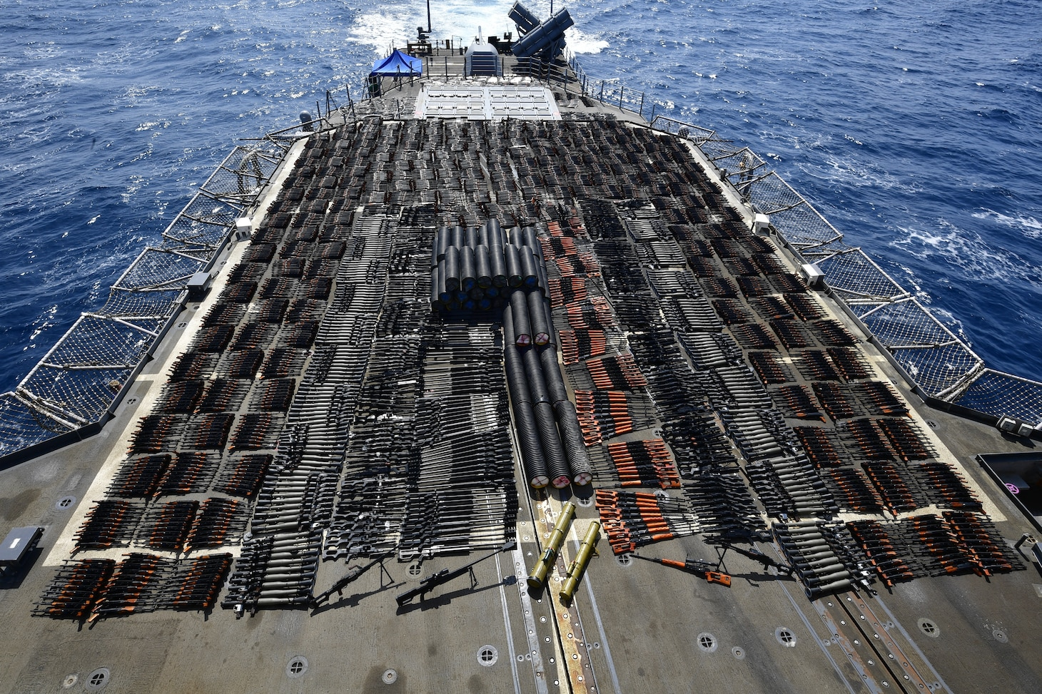 USS Monterey Seizes Illicit Weapons in the North Arabian Sea