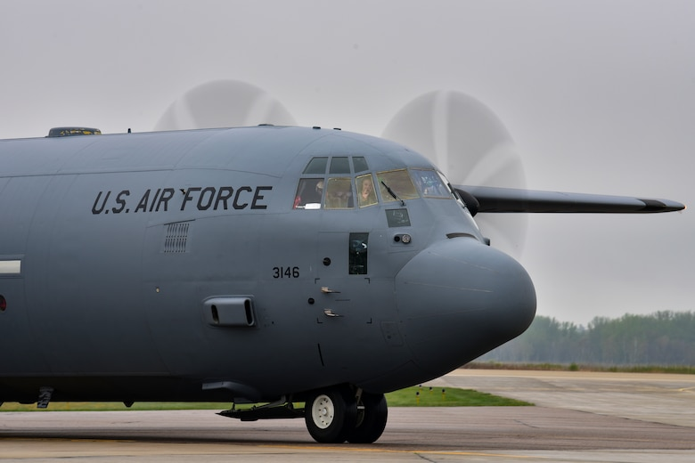 A C-130J Super Hercules taxis prior to take off