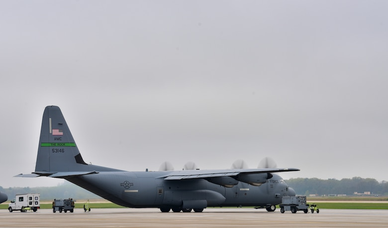 A C-130J prepares to taxi prior to take off