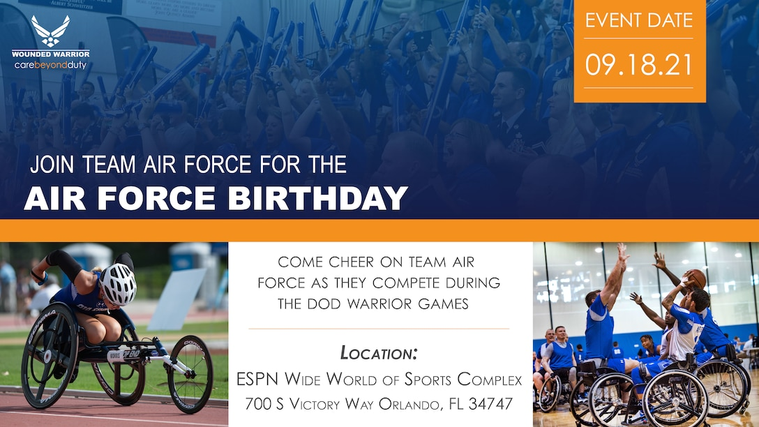 Cheer Team Air Force at the DOD Warrior Games in Orlando, Florida at ESPN Wide World of Sports on Sept. 18, 2021.