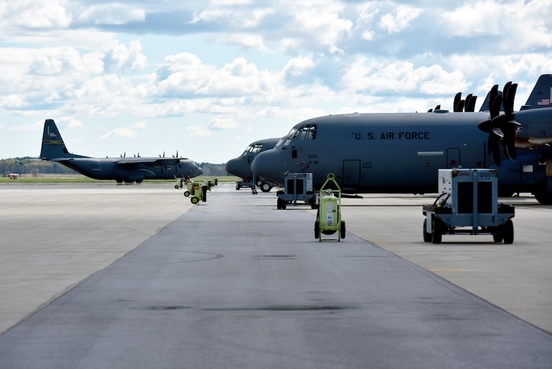 A C-130J Super Hercules assigned to the 19th Airlift Wing taxis on the flightline at Volk Field Air National Guard Base