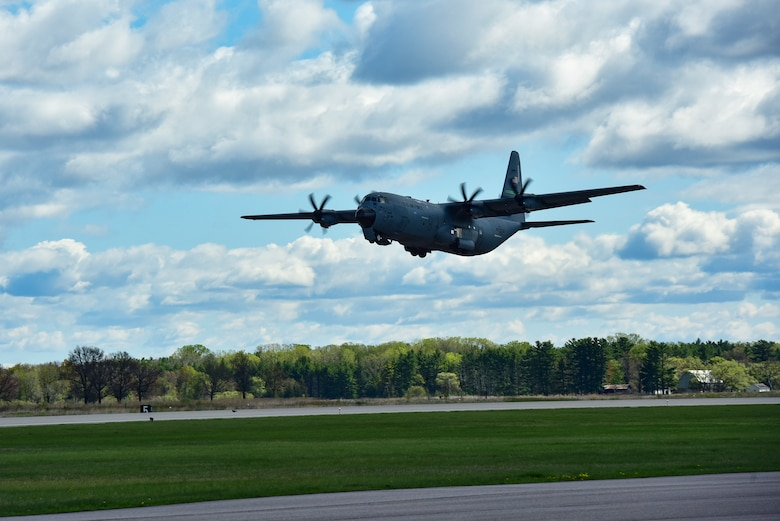 A C-130J Super Hercules assigned to the 19th Airlift Wing takes off from Volk Field Air National Guard Base