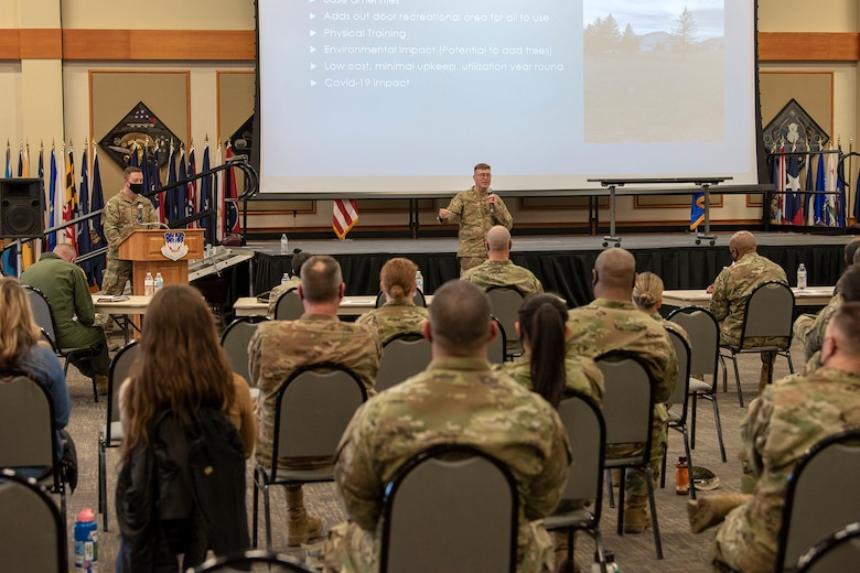Tech. Sgt. Michael Hillard, 10th Missile Squadron facility manager, pitches the addition of a disc golf course on base April 16, 2021, at Malmstrom Air Force Base, Mont.