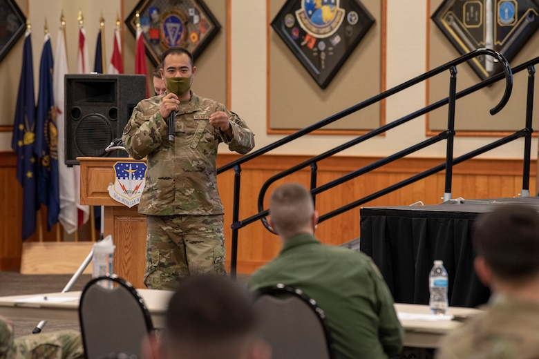 Tech. Sgt. Narongrit Suksangplank, 341st Civil Engineering Squadron structural planner, presents his innovative idea of enabling drones to conduct roof inspections April 16, 2021, at Malmstrom Air Force Base, Mont.
