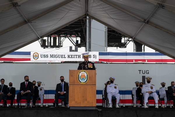 Lt. Gen. Karsten S. Heckl delivers remarks during the commissioning ceremony of the Lewis B. Puller-class expeditionary mobile base USS Miguel Keith (ESB 5).