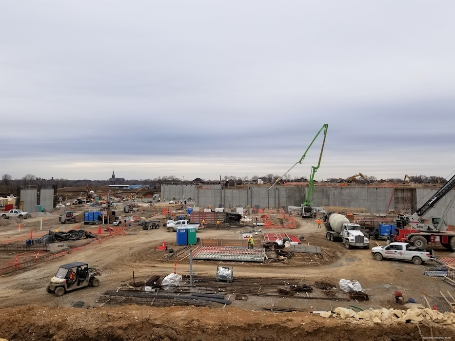 A view of construction for the N2W site in St. Louis, MO at the Next National Geospatial-Intelligence Agency West Headquarters site February 26, 2021. The building complex is expected to be occupied in 2025.