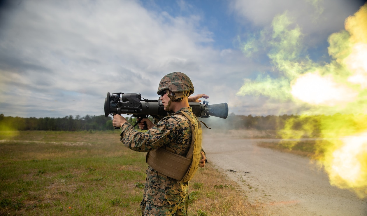 U.S. Marine Corps Cpl. Andrew Ritchie, a Macomb, Mich. native, an armorer with School of Infantry-East, utilizes the M3E1 Multi-purpose Anti-armor Anti-personnel Weapon System to engage targets during a live-fire training with 1st Battalion, 2d Marine Regiment (1/2), 2d Marine Division (2d MARDIV), on Camp Lejeune, N.C., May 6, 2021. 1/2 is tasked as 2d MARDIV's experimental infantry battalion to test new gear, operating concepts and force structures. The unit's findings will help refine infantry battalions across the Marine Corps as we continue to push toward the end state of Force Design 2030. (U.S. Marine Corps photo by Lance Cpl. Emma L. Gray)