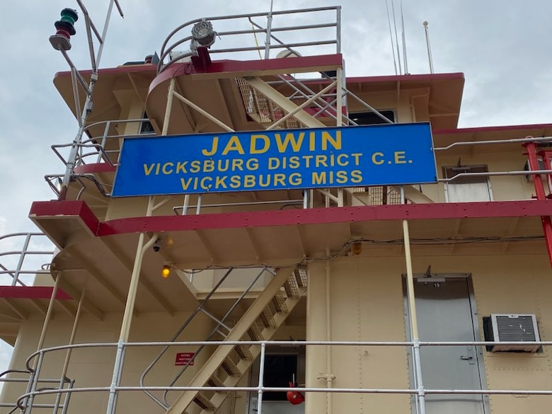 On May 3, 2021, the Dredge Jadwin, with a crew of around 50 U.S. Army Corps of Engineers (USACE) Vicksburg District team members, departed from the Vicksburg Harbor for its annual season of dredging along the Mississippi River and its tributaries. Col. Robert Hilliard, Vicksburg District commander, and Patricia Hemphill, Vicksburg District Deputy District Engineer for Programs and Project Management, visited the Dredge Jadwin the morning of its departure to meet with crewmembers and speak with them about safety.