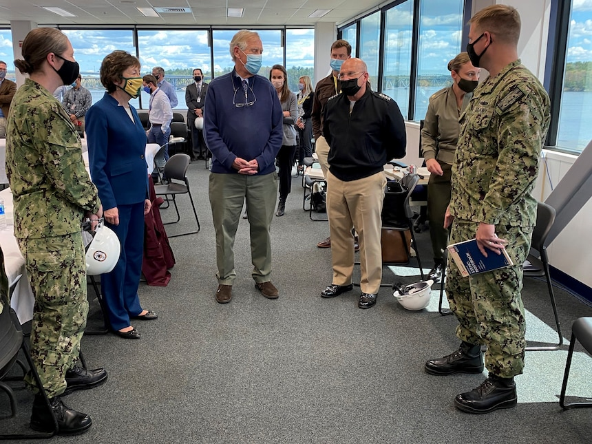 BATH, Maine (May. 10, 2021) - Chief of Naval Operations (CNO) Adm. Mike Gilday tours Bath Iron Works with Sen. Susan Collins and Sen. Angus King. During the visit, CNO also met with Sailors aboard USS Daniel Inouye (DDG 118) and USS Lyndon B. Johnson (DDG 1002). (U.S. Navy photo by Cmdr. Nate Christensen/Released)