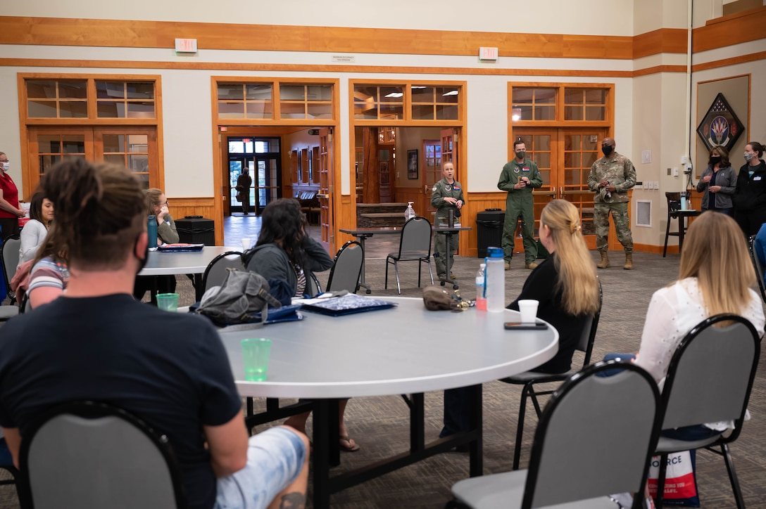 Col. Anita Feugate Opperman, 341st Missile Wing commander, welcomes spouses to a Military Spouse Appreciation Day tour May 7, 2021, at Malmstrom Air Force Base, Mont.