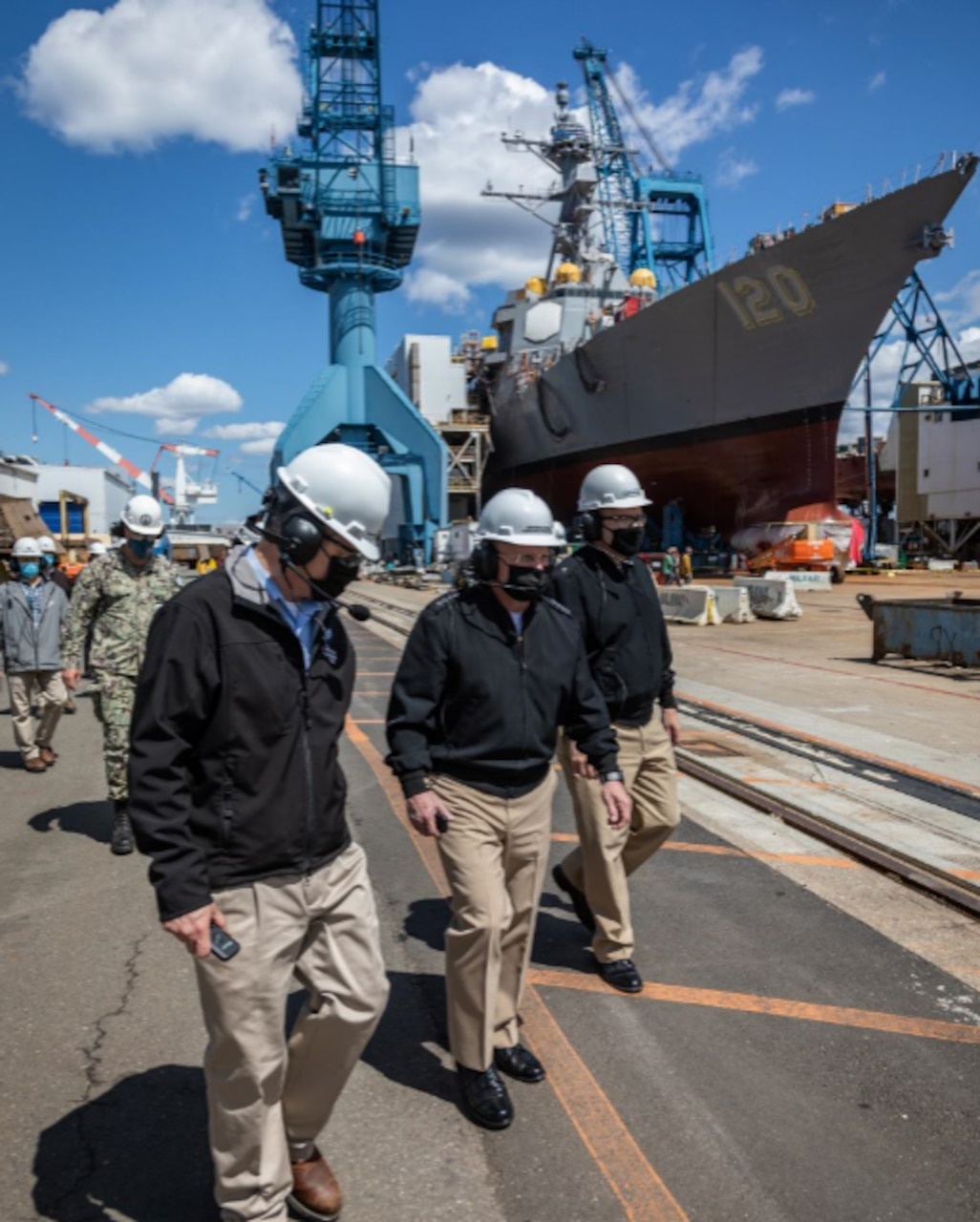 BATH, Maine (May. 10, 2021) - Chief of Naval Operations (CNO) Adm. Mike Gilday tours Bath Iron Works with Sen. Susan Collins and Sen. Angus King. During the visit, CNO also met with Sailors aboard USS Daniel Inouye (DDG 118) and USS Lyndon B. Johnson (DDG 1002). (Photo courtesy of Bath Iron Works/Released)