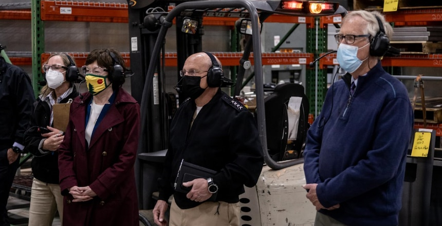 BATH, Maine (May. 10, 2021) Chief of Naval Operations (CNO) Adm. Mike Gilday tours Bath Iron Works with Sen. Susan Collins and Sen. Angus King. During the visit, CNO also met with Sailors aboard USS Daniel Inouye (DDG 118) and USS Lyndon B. Johnson (DDG 1002). (Photo courtesy of Bath Iron Works/Released)
