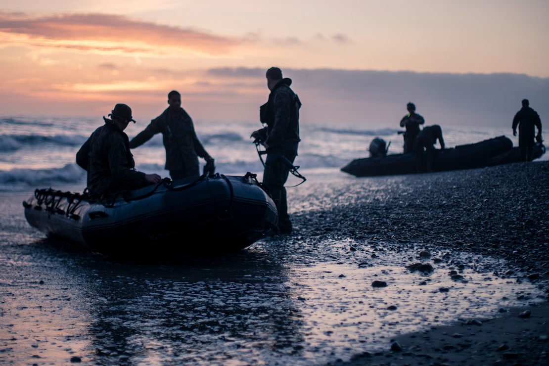 U.S. Marines load into combat rubber raiding crafts at Marine Corps Base Camp Pendleton, Calif., April 7.
