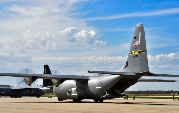 A C-130J Super Hercules assigned to the 19th Airlift Wing taxis on the flightline