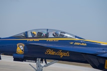 Blue Angels allow their Key Influencer to sit in the passenger seat during the demonstration practice aboard MCAS Beaufort.  (U.S. Marine Corps photo by Lance Cpl. Hernan Rodriguez)