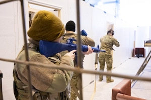 Members of the 341st Security Forces Squadron practice responding to active shooter scenarios April 27,2021 at Malmstrom Air Force Base, Mont.