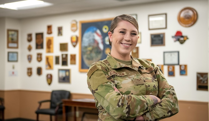 U.S. Air Force Senior Airman Mikayla Starksen, a material control operations manager for the 419th Civil Engineer Squadron, poses for a photo May 1, 2021 at Hill Air Force Base, Utah.