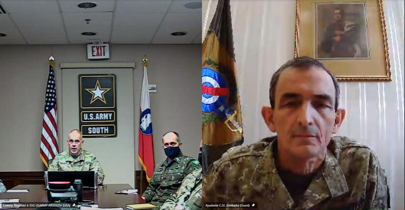Maj. Gen. Daniel R. Walrath, left, U.S. Army South commanding general, conducted a virtual key leader engagement with Gen. Gerardo Daniel Fregossi Alvarez, right, the Uruguayan Army commander, May 10, to strengthen relations between the two armies and discuss opportunities for future engagements and training.