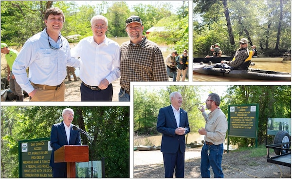 IN THE PHOTOS, Project Manager Jairus Stroupe and St. Francis Basin and White River Backwater Section Chief Billy Grantham attended the Arkansas Water Trails dedication ceremony along with Arkansas Governor Asa Hutchinson, the St. Francis Lake Association, the Arkansas Water Trails, the City of Trumann, and the Arkansas Game and Fish Commission. On behalf of the St. Francis Lake Association, Dr. Neal Vickers recognized U.S. Army Corps of Engineers Project Manager Jairus Stroupe and late USACE Retiree Regina Kuykendoll Cash for their efforts in maintaining the St. Francis Basin. Those efforts are now responsible for allowing the river to be appropriately regulated within the sunken lands.