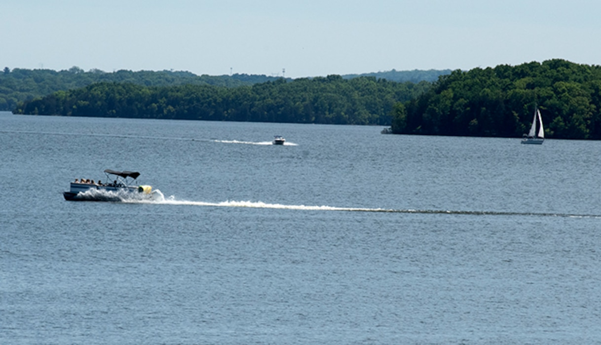 Boaters enjoy recreating on J. Percy Priest Lake in Nashville, Tennessee May 11, 2021. As the steward of many of these public waters, the U.S. Army Corps of Engineers Nashville District reminds visitors of the importance of practicing safe, sensible, and thoughtful activities in and around the water. (USACE Photo by Lee Roberts)