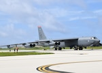 A B-52H Stratofortress bomber from Barksdale Air Force Base, Louisiana, prepares to depart from Andersen Air Force Base, Guam during a Bomber Task Force deployment May 7, 2021. This mission was in support of Northern Edge 21. The BTF was deployed to the U.S. Indo-Pacific Command area of responsibility to meet Pacific Air Forces training objectives. Pacific Air Forces in coordination with other components, allies, and partners, provides USINDOPACOM with continuous unrivaled air, space, and cyberspace capabilities to ensure regional stability and security.