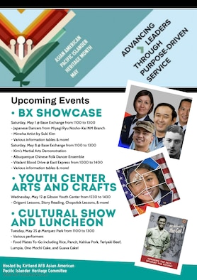 List of upcoming events, on the left, to celebrate Asian American Pacific Islander heritage month. On the right, images of various Asian American Pacific Islanders serving in the military throughout history.