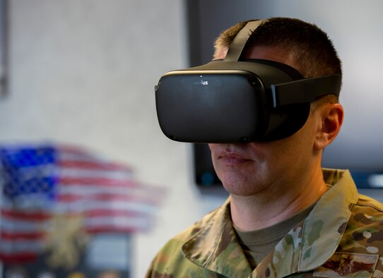 Chief Master Sgt. Nathan Parks, 434th Air Refueling Wing command chief, took part in the suicide prevention virtual reality training demo on April 30, 2021. The 30-minute training is aimed to familiarize Airmen with suicide prevention skills. The training involves putting on a virtual reality headset and entering a scenario where they interact with an Airman in distress. (U.S. Air Force photo by Senior Airman Jonathan Stefanko)