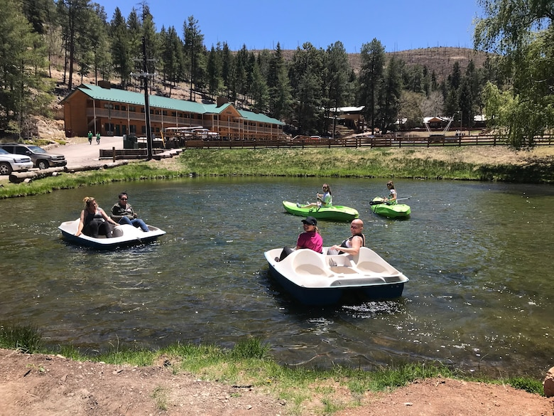 Six spouses play water sports, May 8-9, at Sacramento Camp and Conference Center, New Mexico.